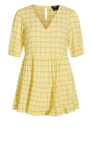 Flirty Check Dress - lemon check