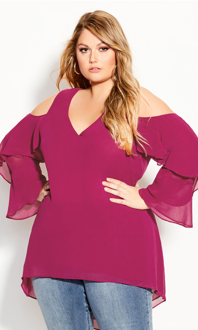 Hi Lo Cold Shoulder Top - raspberry