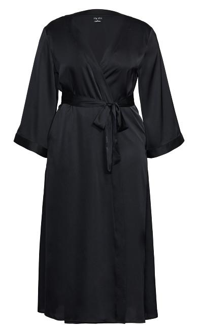 Long Satin Wrap - black