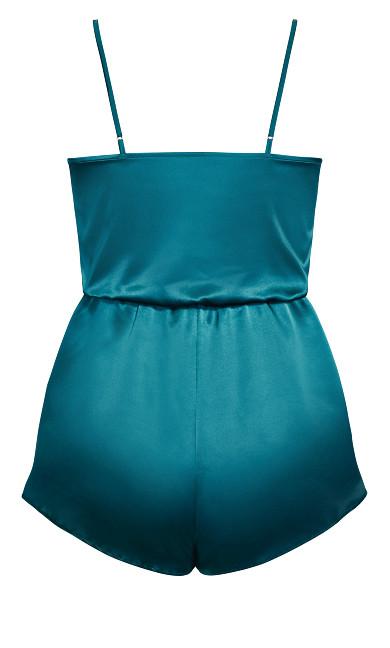 Stella Satin Playsuit - emerald