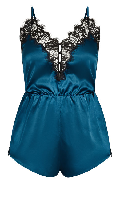 Stella Satin Playsuit - poseidon