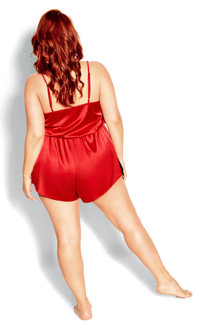 Stella Satin Playsuit - red