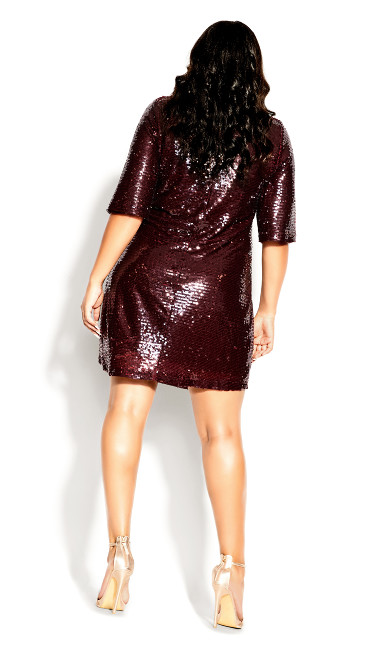 Sequin Glow Dress - ruby