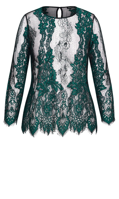 Royal Lace Top - emerald