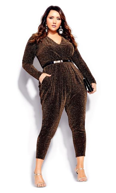 Women's Plus Size Night Queen Jumpsuit - black