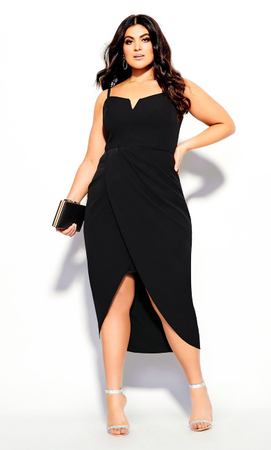 Women's Plus Size Sassy Notch Neck Dress - black
