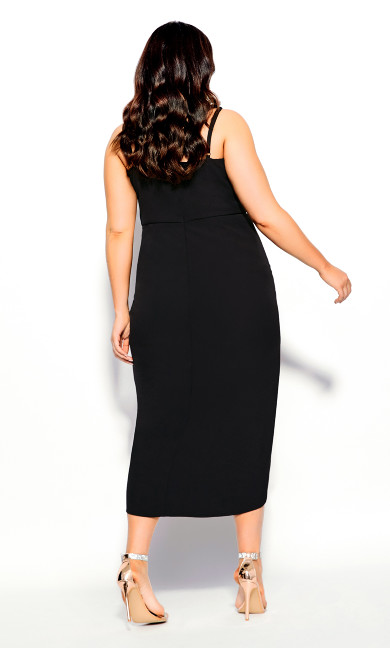 Sassy Notch Neck Dress - black