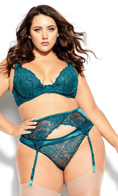 Plus Size Abby Garter Belt - teal