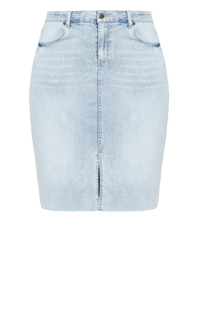Midi Denim Skirt - sky blue
