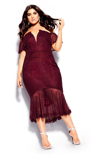 Lace Violet Dress - ruby