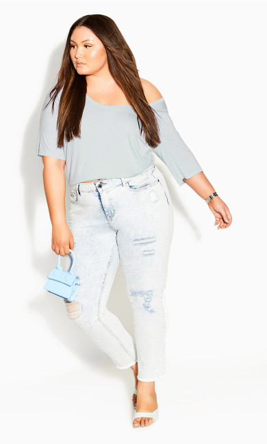 Off Shoulder Tee - baby blue