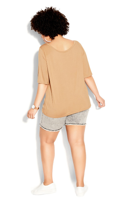 Off Shoulder Tee - sand