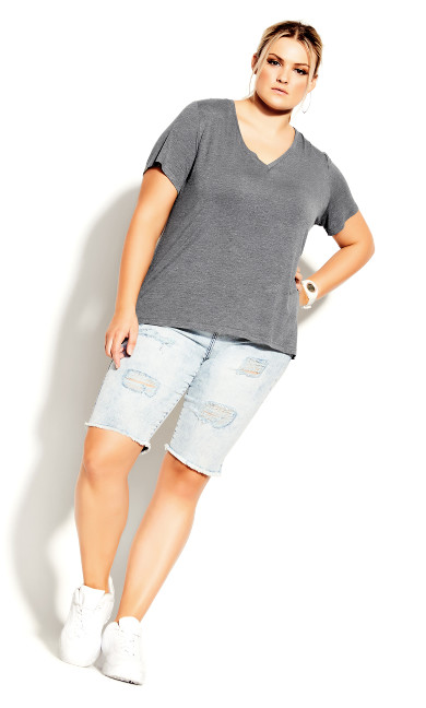 Plus Size Deep V Tee - charcoal