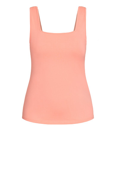 Square Neck Cami - lipstick