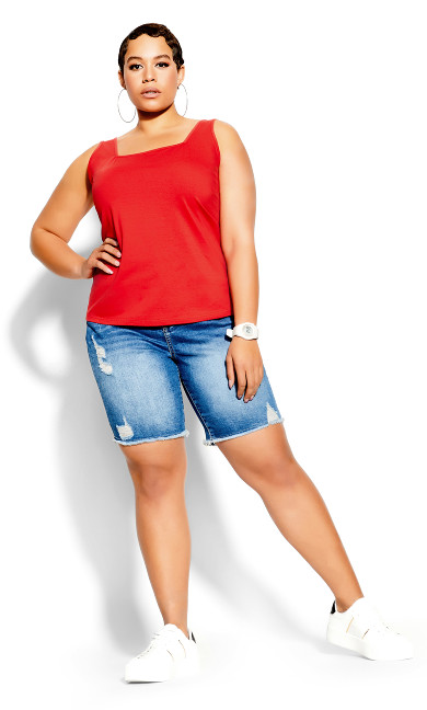Plus Size Square Neck Cami - red