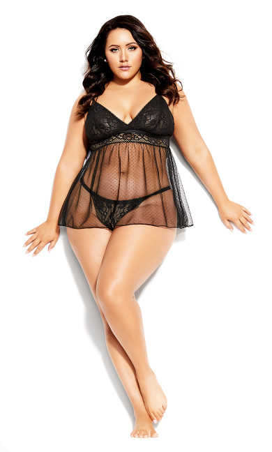 Plus Size Mia Babydoll Set - black