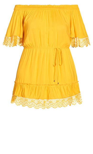 Crochet Detail Dress - golden