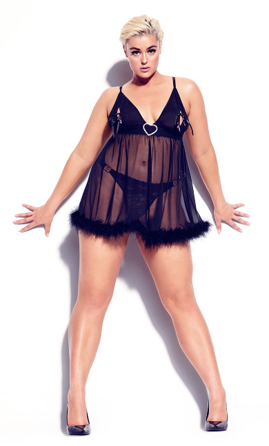 Plus Size Marabou Trim Babydoll - black