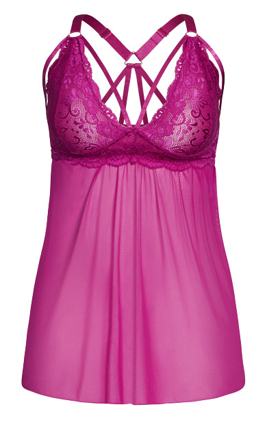 Sophie Strappy Babydoll - cerise