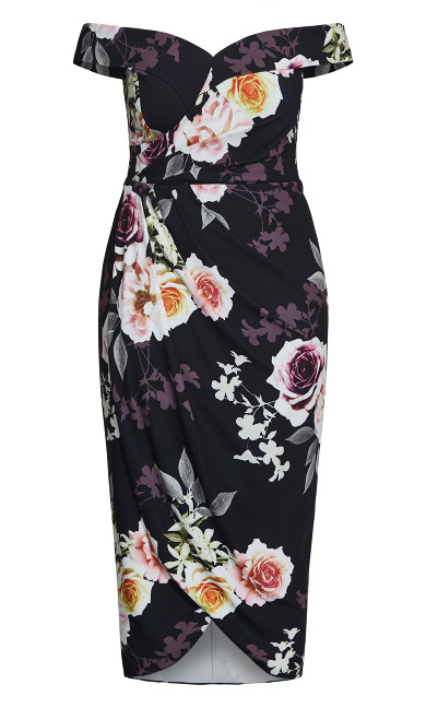 Luxe Bouquet Maxi Dress - black