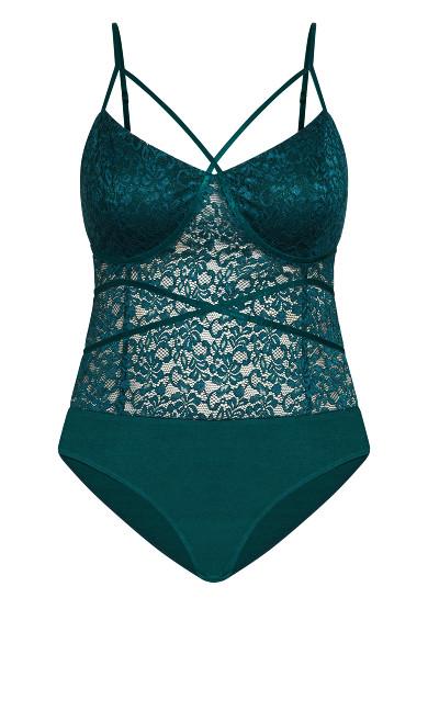 Sassy Lace Bodysuit - emerald