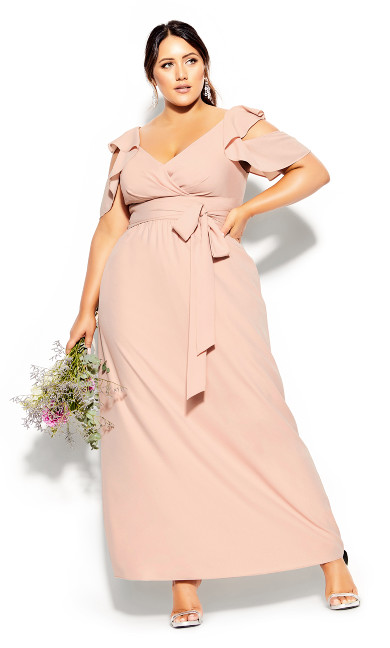 Plus Size Frill Treasure Maxi Dress - pink