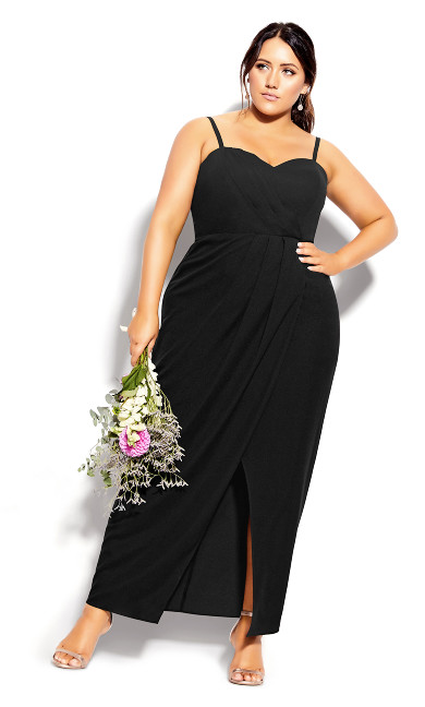Plus Size Sweet Drape Maxi Dress - black
