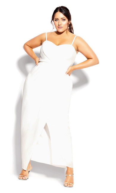 Plus Size Sweet Drape Maxi Dress - ivory