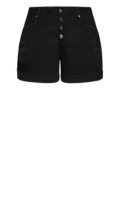 Denim Cuff Short - black