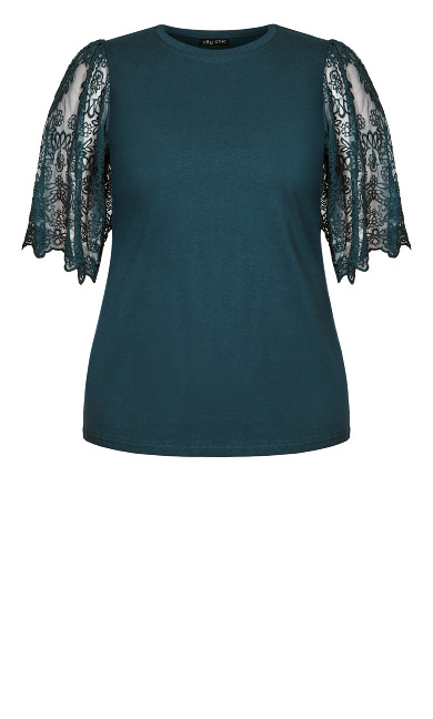 Embroidered Angel Top - peacock