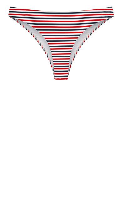 Daisy Print Bikini Pant - red stripe