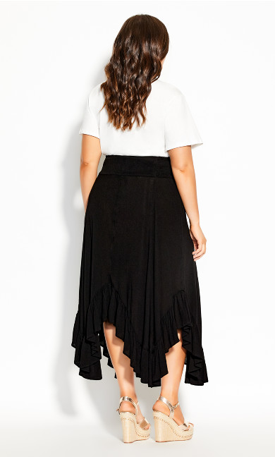 Ruffle Maxi Skirt - black