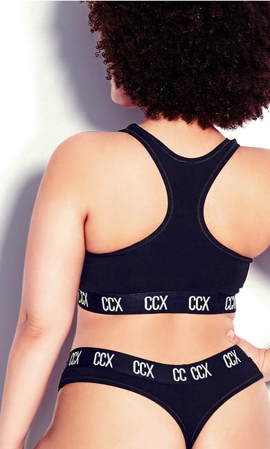 CCX Logo Cotton Thong - black