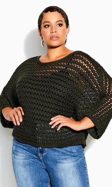 Plus Size Cool Crochet Top - fern