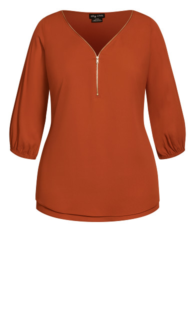 Sexy Fling Elbow Sleeve Top - copper
