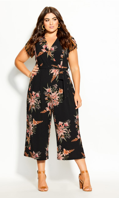 Plus Size Gypsy Floral Jumpsuit - black