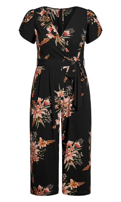 Sweet Floral Jumpsuit - black