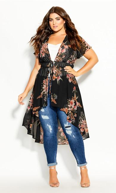 Plus Size Gypsy Floral Jacket - black