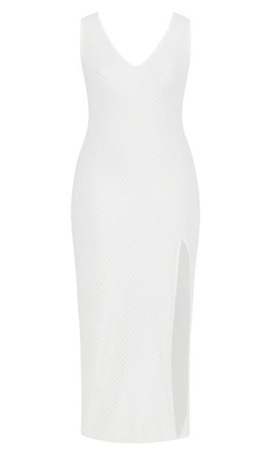 V Mesh Maxi Dress - white