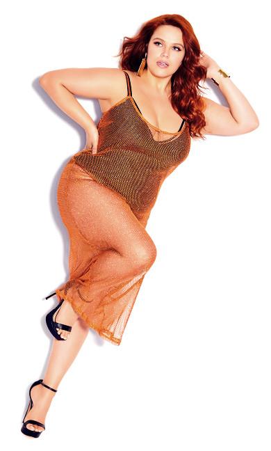 Plus Size Party Crochet Dress - bronze