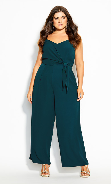 Plus Size Sweet Tie Jumpsuit - jade