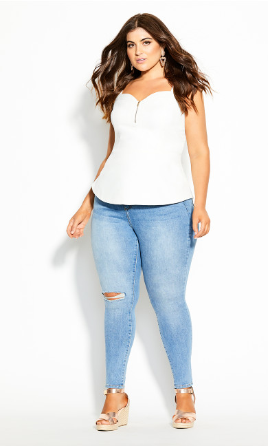 Plus Size Sassy Class Top - ivory