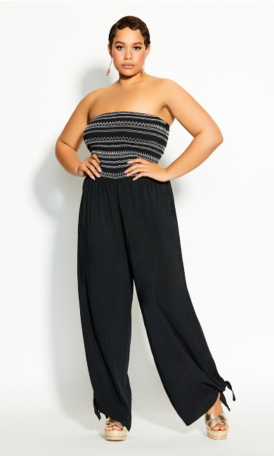Plus Size Stitched Jumpsuit - black
