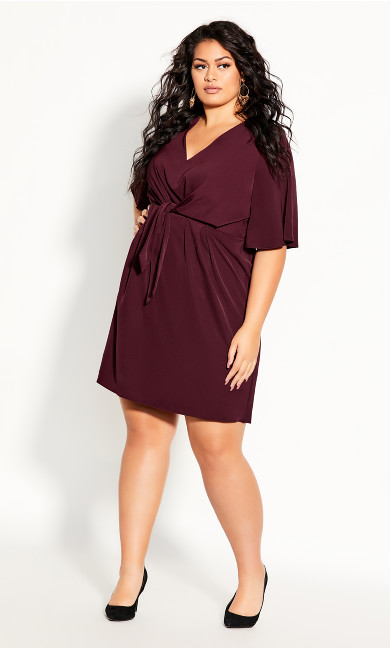 Knot Front Dress - oxblood
