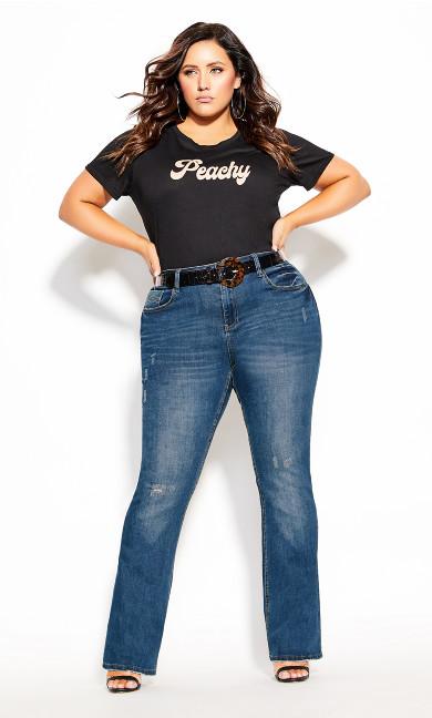 Plus Size Harley Rip Bootleg Jean - denim