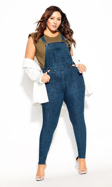 Plus Size Overall Skinny Jean - indigo