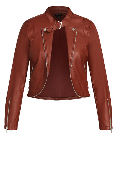 Cropped Biker Jacket - ginger