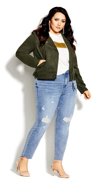 Plus Size Chic Biker Jacket - thyme