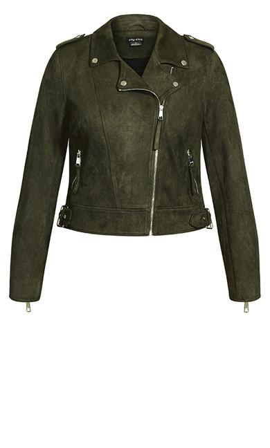 Chic Biker Jacket - thyme