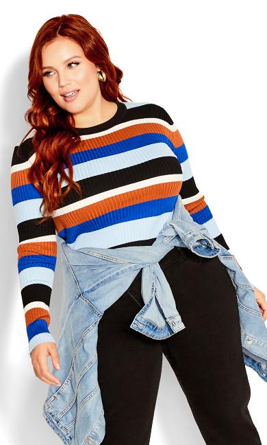 70'S Stripe Jumper - blue